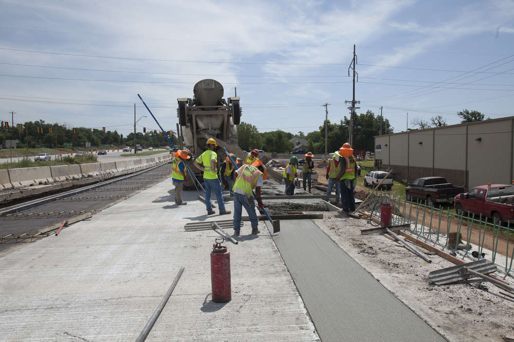ODOT photo. Reconstruction of the SH-9 east interchange included a connection to the Ed Noble Parkway on the west side of I-35.