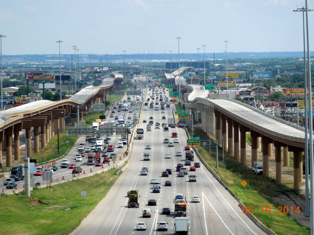 The Lyndon B. Johnson Expressway project north of Dallas, Texas, was a five-year reconstruction of a portion of I-635 to relieve severe congestion partly by adding express toll lanes underneath the regular lanes.