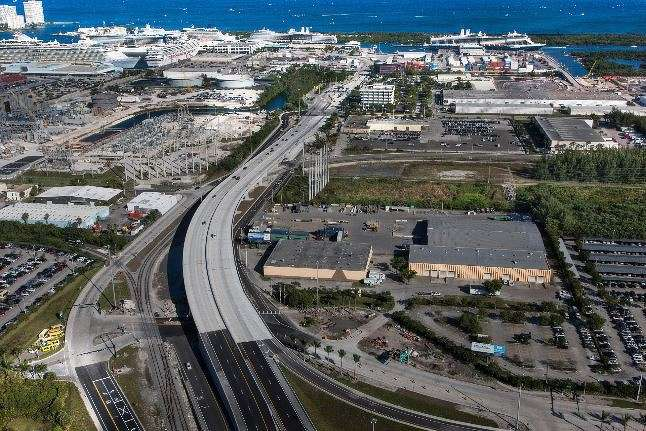 A bridge on Eller Drive over railroad tracks at Port Everglades in Broward County, Fla., is replaced.