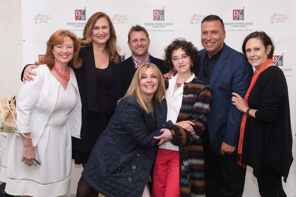 (L-R) Ellen Baker, designer; Irena Škoda, president D + BA and design architect; George Oliphant, George to the Rescue (NBC-TV); Marlaina Tech, vice president D + BA and designer; Suzanne Sokolov, executive director D + BA; Keith Mazzei, D + BA board member and designer; Barbara L. Dixon, event chair, founding editor, Elle Decor. Photo by Dawn McCormick.