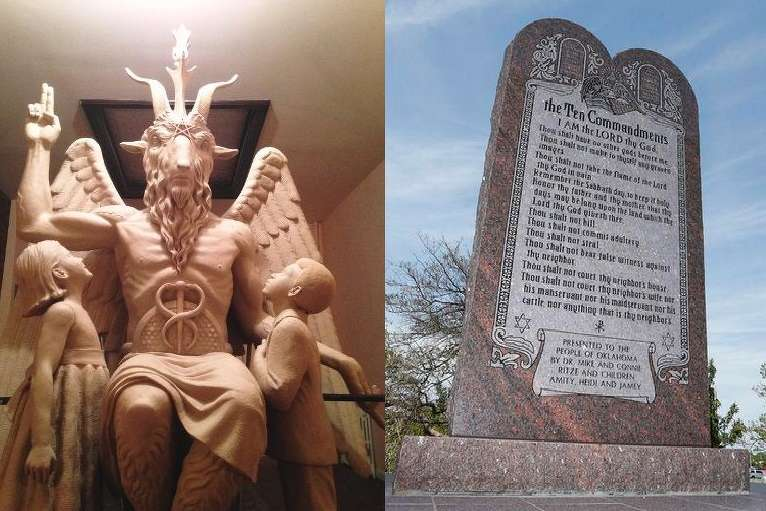 The proposed Baphomet and Ten Commandments memorials side by side.
