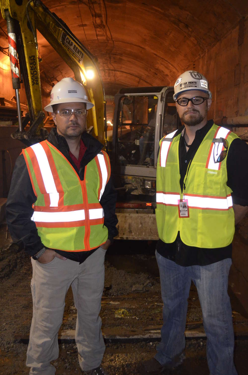 Jonah Yezzi (L), product solution specialist of Wacker Neuson, and Vincent Caporaso of CAP Equipment.