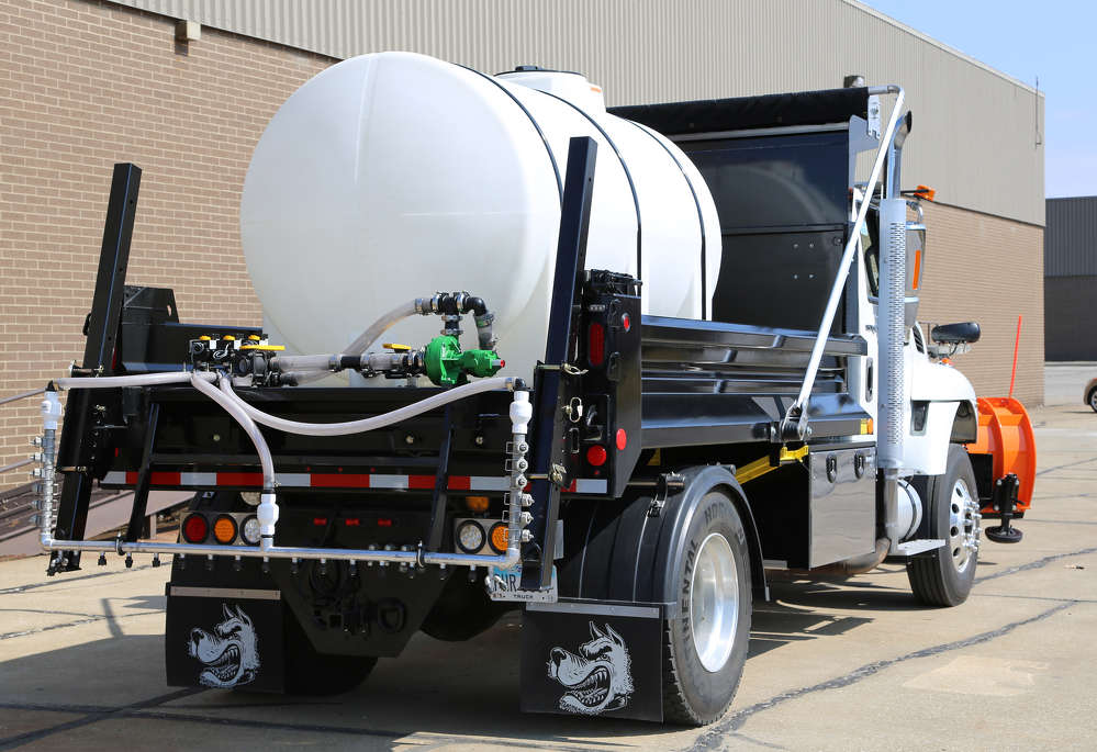 Buyers Products's liquid anti-ice system is available with two poly tank sizes, 1,050 gal. (3,974 L) for single-axle and 1,650 gal. (6,246 L) for tandem-axle applications.