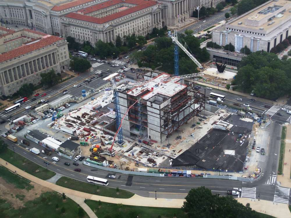Smithsonian's National Museum of African American History and Culture photo An aerial view of the National Museum of African American History and Culture's construction site in September 2014.