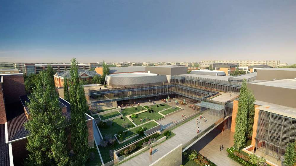 Perkins + Will rendering. A rendering of the completed University of Kentucky student center.