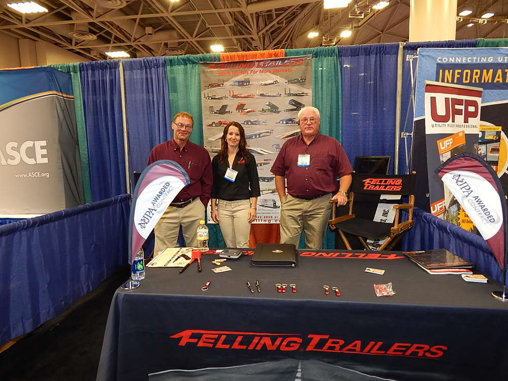 "The Felling Trailers Sauk Centre, Minn., team was represented at the show, including Ed Steinemann, national account manager;  Rebecca Gerads, marketing coordinator; and Dan ""Boone"" Larson, Midwest regional sales manager."