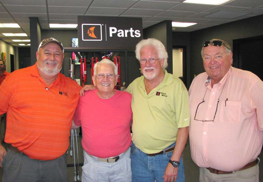 """(L-R): Ronnie Mayfield, Ditch Witch of Georgia; James """"Bip"""" Farrow, retired Georgia Power fleet manager, Columbus, Ga.; and Ricky McCrary and Wade Bailey, Ditch Witch of Georgia, catch up at the event."""