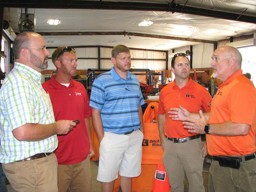 (L-R): Todd Human, Ditch Witch of Georgia; Robbie Burt and Josh Benefield of B&B Telecommunications, Columbus, Ga.; and Justin Anderson and Robert Campbell, Ditch Witch corporate, Perry, Okla., attend the event.
