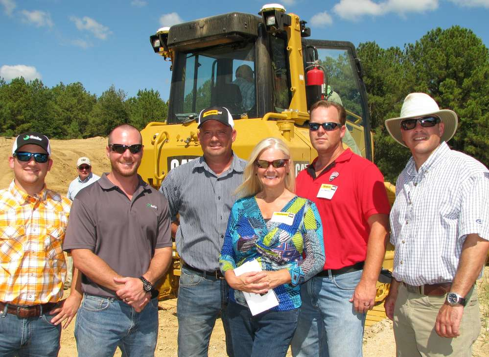 Saiia Construction Company, Birmingham, Ala.,  attended the demo to learn more about the new Cat GRADE technology. (L-R) are Johnny Pipp, Landon Colafrancesco, Jay McGinnis, Connie Hardin, Rob Massengale, all of Saiia Construction Company, with John Smith, the company's Thompson Tractor salesman.
