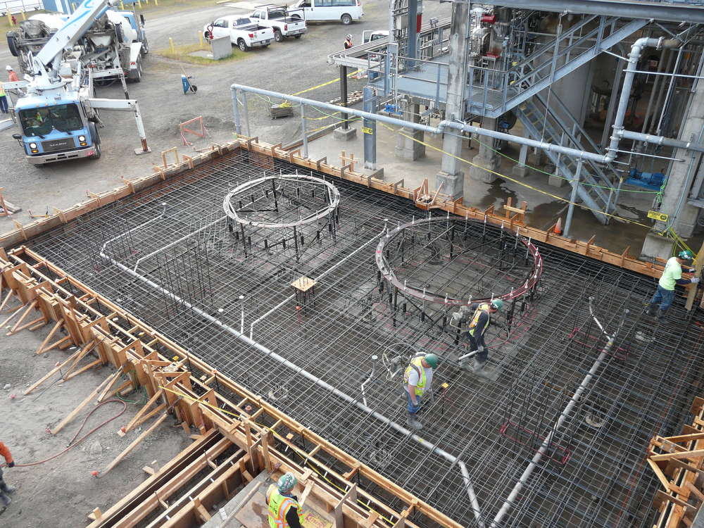 Solvay Chemicals photo Crews poured 1,800 cu. yds. (1,376.19 cu m) of concrete needed for the mat slab.