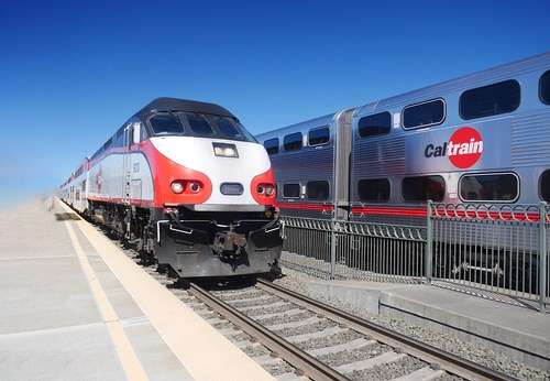 A diesel Caltrain locomotive currently operating on the San Francisco to Santa Clara rail route.