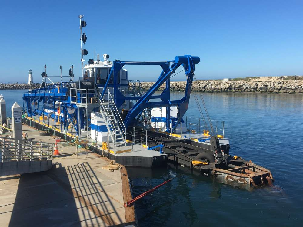 "A new dredge from DSC Dredge LLC — the ""Twin Lakes"" — was delivered to the Santa Cruz Harbor in June."