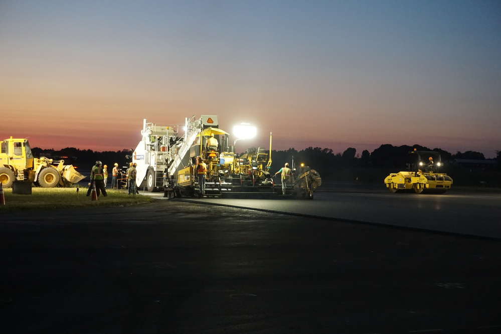 The paving crew worked well into most nights to meet the tight timeframe.