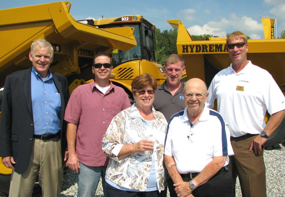 Manufacturer representatives and Hydrema dealers came together for the grand opening event, including (L-R) Pat Flanagan, Niece Equipment, Austin, Texas; Kevin Keroack, East PBE, Newington, Conn.; Donna Boniface, Mark Hufcut and Jack Dopp, all of Pine Bush Equipment, Pine Bush, N.Y.; and Barry Ferrell, Hydrema U.S.