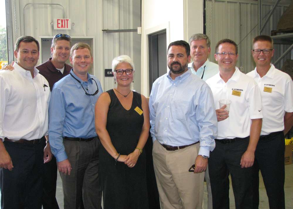 (L-R): Brian Cholmondeley, Paul Twiggs and Wes McDonald, all of Ring Power; Jette Binder, Hydrema U.S.; Ryan Staalings and Kevin Robbins, both of Ring Power; Kris Binder, Hydrema U.S.; and Jan Werner Jensen, owner of Hydrema, based in Denmark, attend the event.