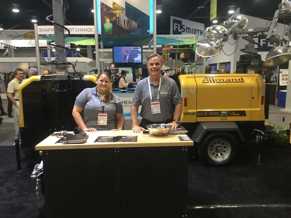 Becky Fellows (L), director of marketing, and Brad Huie, regional sales manager of Allmand, presented the company's mobile light towers.