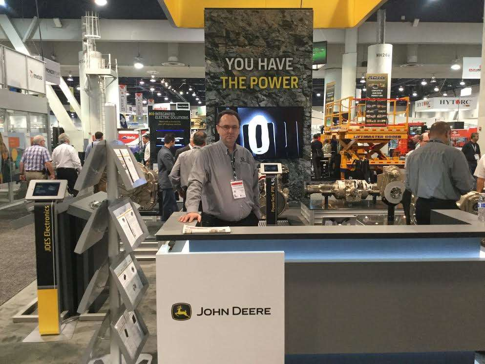 John Deere Power Systems exhibited in the North Hall with Darren Almond, Global Drivetrain business manager.