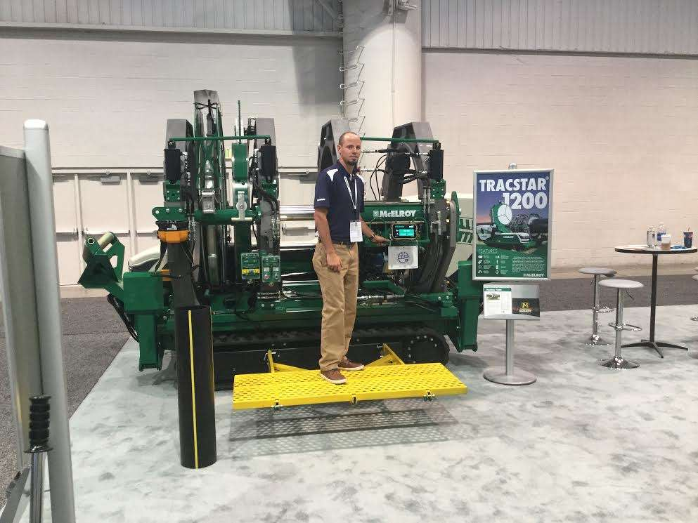 Jason Penland of McElroy, demonstrates the new Tracstar 1200 for large pipe applications. The Tracstar 1200 has advanced emission control technology that meets EPA Tier IV standards.