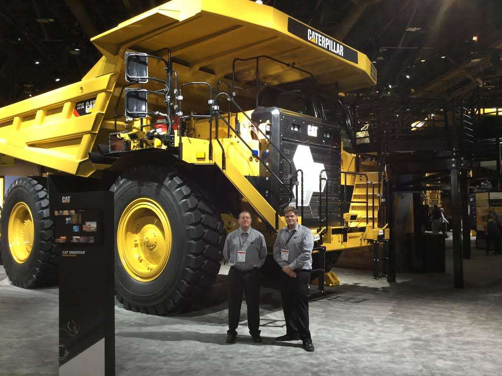 John Hall (L) and James McKnight of Caterpillar, want expo-goers to see the Caterpillar 777G (Tier IV). The new G series represents a new era for this size class from Caterpillar.