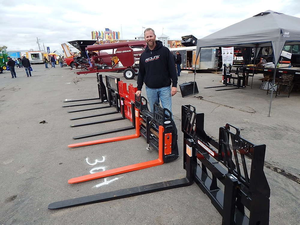 Matt Cheney, founder and owner, Redline Attachments, Hutchinson, Minn., said the company has an extensive pallet fork attachment line.