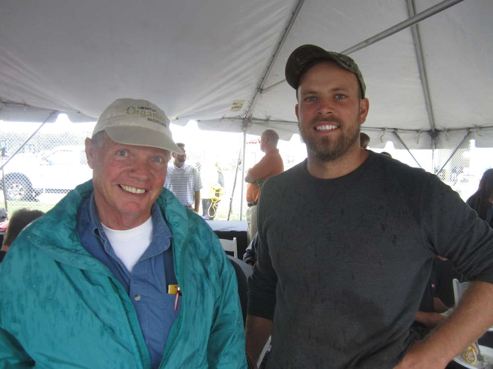 Ted Krueger (L) and Andy Klink, both of Midwest Organic Recycling, enjoy their time at the new Wauconda store.