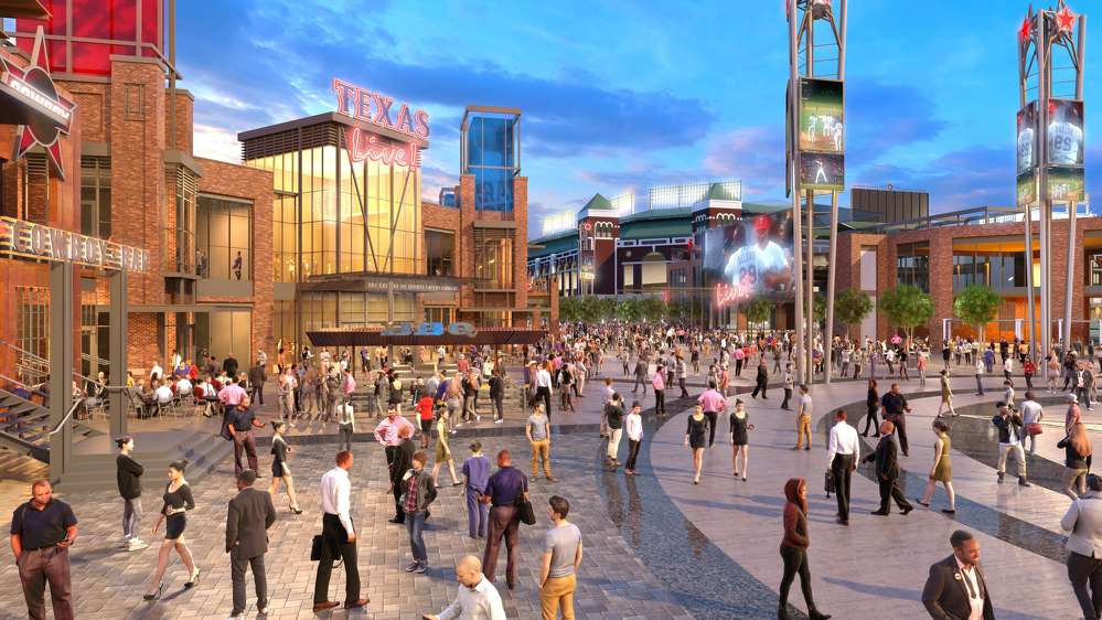 Texas Live! photo. The first phase of the mixed-use project, which will be located between Globe Life Park and AT&T Stadium, is now expected to cost $250 million and will feature three major venues as well as an upscale, full-service 300-room hotel and convention space.