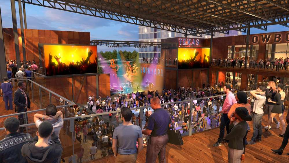 "Texas Live! photo. Arlington Backyard, a 5,000-capacity outdoor event pavilion will become the ""backyard"" of Texas Live!"