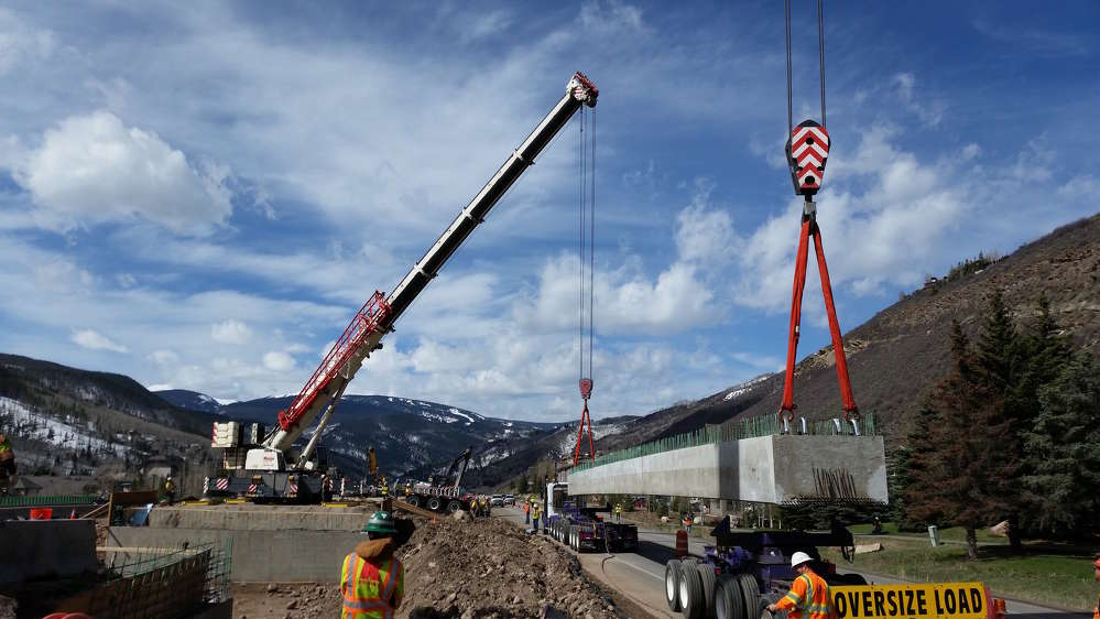 Colorado Department of Transportation photo. The new underpass is expected to reduce repetitive I-70 local traffic by providing a direct connection between the core resort village areas and the West Vail mall area.