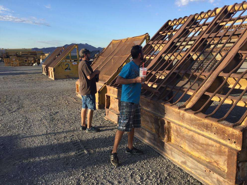 Colton Van Buren (R), owner of Van Buren Inc., Flagstaff, Ariz., and colleague Gary Standifird, came to the sale with hopes of buying mining and construction equipment.