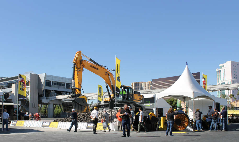 MB Crusher America Inc. had live crushing demonstrations of the BF135.8 crusher attachment on a Hyundai excavator.