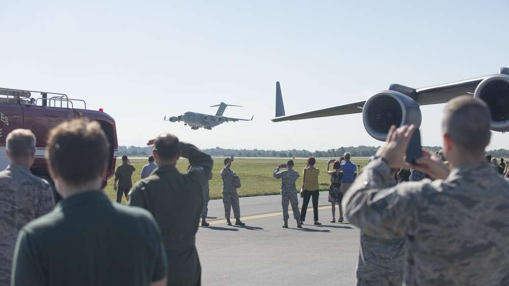 U.S. Air Force photo/Staff Sgt. Jared Duhon A C-17A Globemaster III lands on runway 01-19 during a ribbon-cutting ceremony Sept. 23, 2016, on Dover Air Force Base, Del.