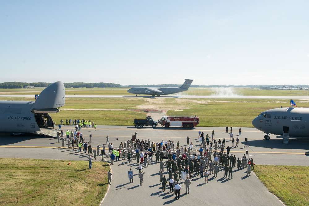 This C-5M Super Galaxy is the first aircraft to land on the newly reopened and reconstructed runway.