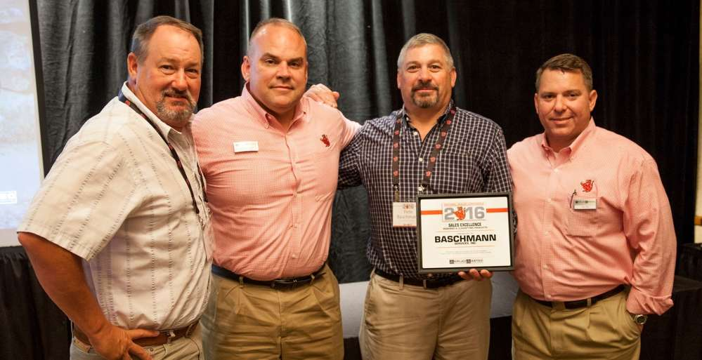 (L-R) are Mike Peters, aggregate equipment sales manager, Baschmann Services Inc.; Bill Royce, regional sales manager, KPI-JCI and Astec Mobile Screens; Pete Baschmann, president, Baschmann Services Inc.; Ron Earl, vice president sales and marketing, KPI-JCI and Astec Mobile Screens.