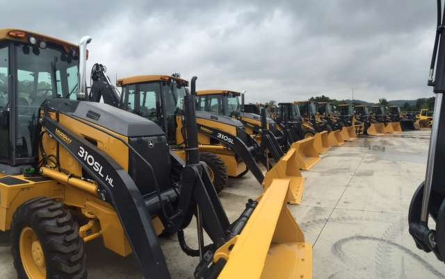 John Deere backhoes were on display at the grand opening.