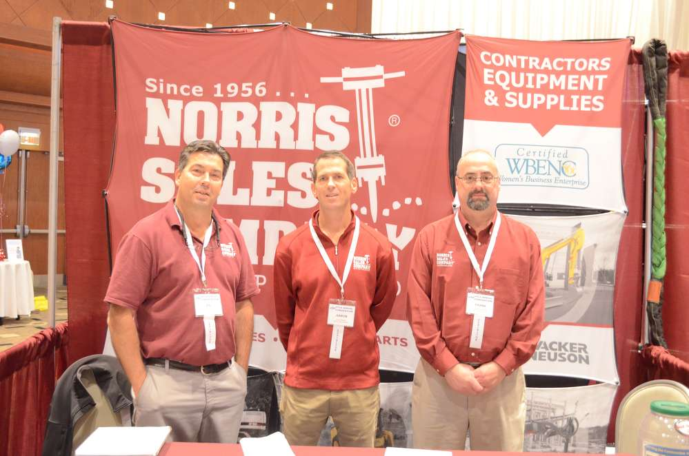 Norris Sales Company, headquartered in Conshohocken, Pa., with a branch in Sicklerville, N.J., was represented (L-R) by Ed Zoranski, sales representative; and Aaron Brown and Frank Kimberling, both inside sales.