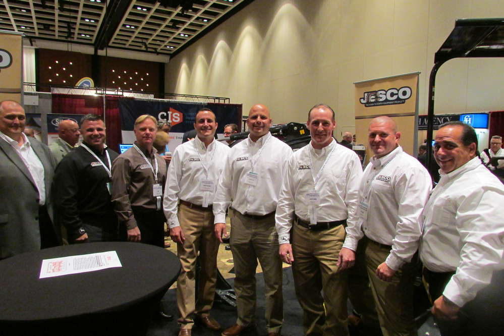 At the JESCO booth during the UTCA show (L-R) are Shawn Mulvenna, territory manager; Michael Delia, territory manager; Tom Reszkowski, Ditch Witch territory manager; Anthony Falzarano, vice president of sales; Greg Swartz, territory manager; Jerome Ferri, customer support manager; Dave Dellaratta, sales manager; and Steve Mazzarella, territory manager.