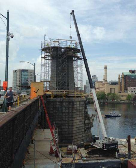 """White-Skanska-Consigli photo. The project will restore the historic bridge, built in 1908, including rebuilding its iconic """"salt and pepper"""" towers."""