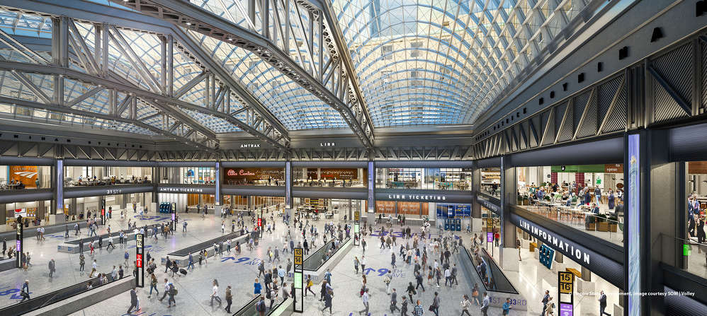 SOM photo. The Moynihan Train Hall will have more space than Grand Central's main concourse, housing both Amtrak and LIRR ticketing and waiting areas, along with state-of-the-art security features, a modern, digital passenger experience and a host of dining and retail options.