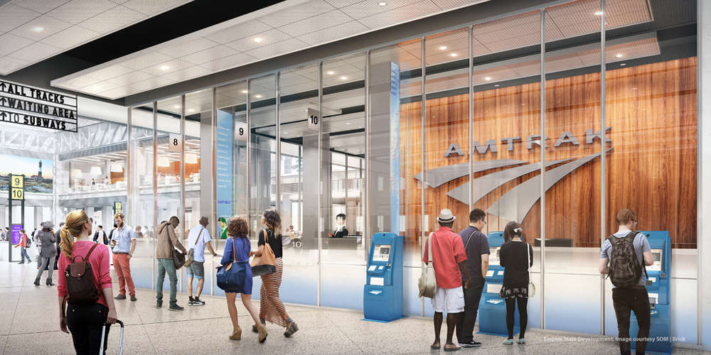 SOM photo. The concourse will provide direct access to LIRR and Amtrak tracks and will connect the future Moynihan Train Hall to Penn Station underground via 33rd Street.