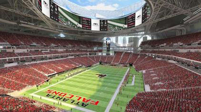 An artist's conception shows the interior of the stadium. Image courtesy of the Atlanta Falcons.