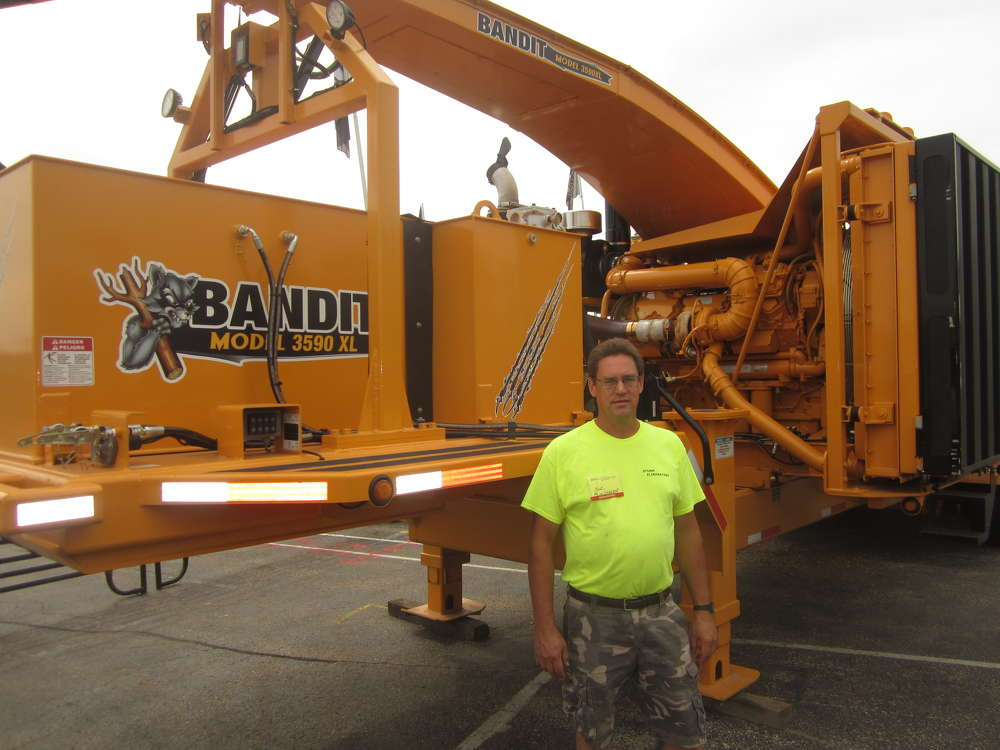 Nick Biendarra of Stump Eliminators inspects this Bandit 3590XL chipper.