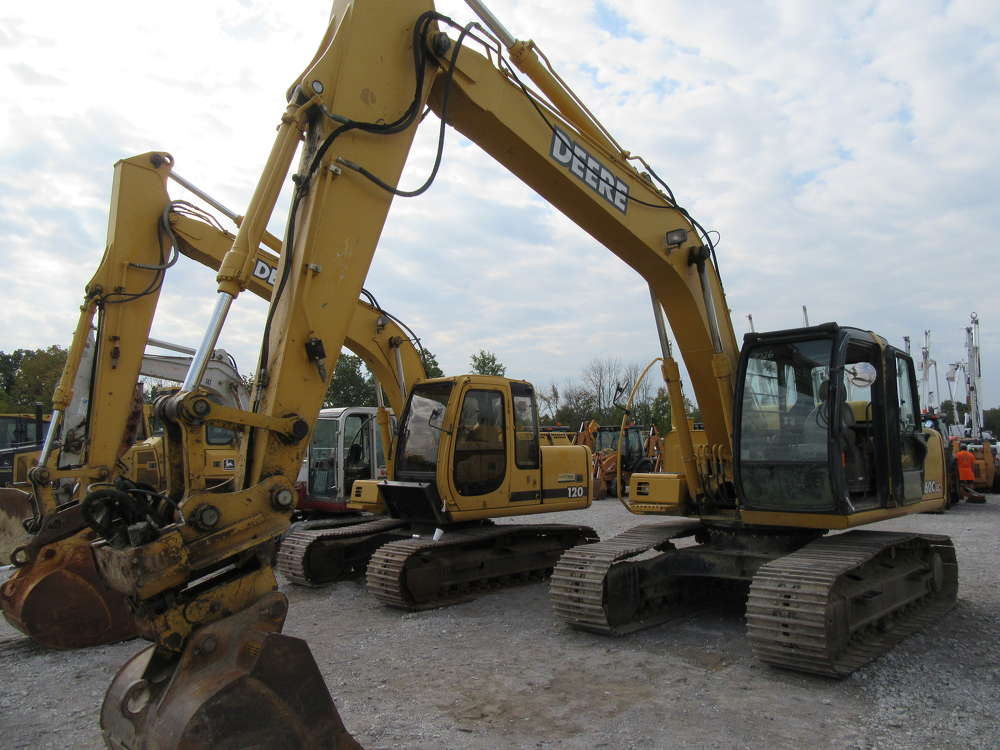 A lineup of excavators, including this John Deere 160C model, are ready to go on the block.