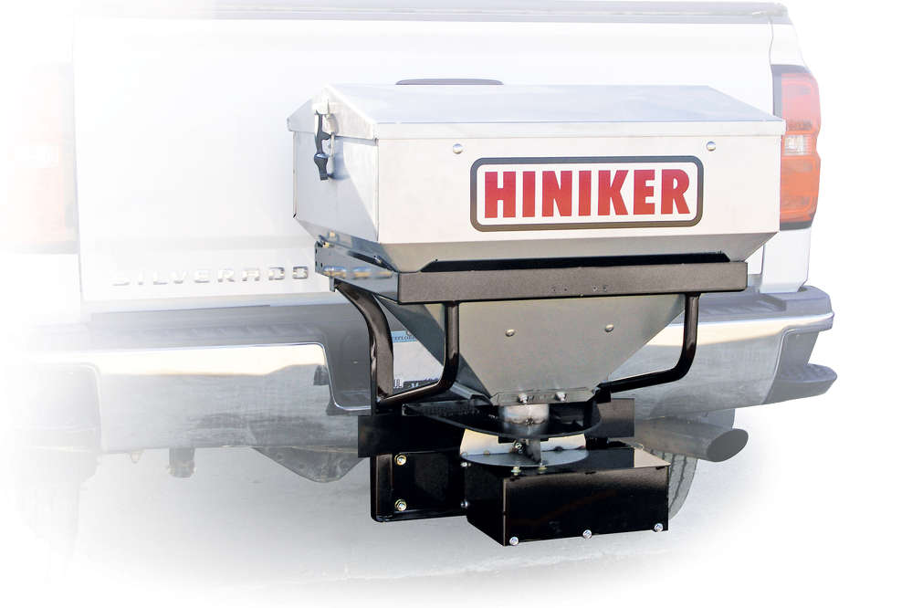 Hiniker's brushed-finish 304 stainless steel hoppers are available in 6 and 10 cu. ft. (.17 and .28 cu m) capacities.