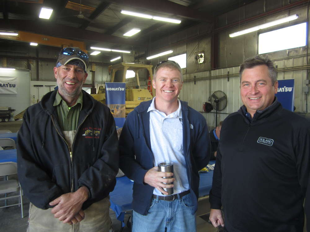 (L-R): Bill Doubet of D&L Drainage; Ryan Arch, LICA of Illinois; and Matt Roland, president Roland Machinery Co., enjoy the open house.