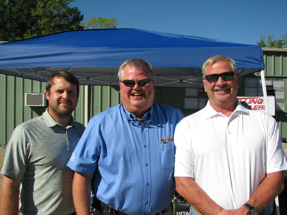 (L-R): Joseph Mann, Bartell Morrison, Freehold, N.J.; Roger Wallen, owner of JCB of Chattanooga; and Tim Collins, Fulmer Concrete, Chattanooga, Tenn., attend the open house.