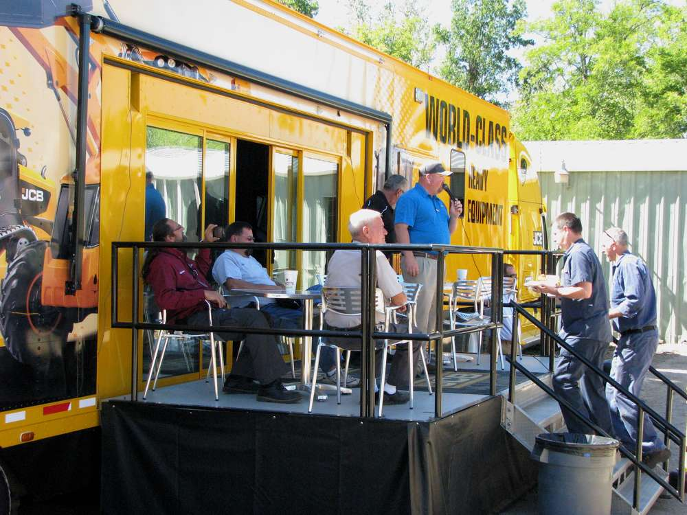Guests relax at the JCB rolling lounge from Savannah, Ga.