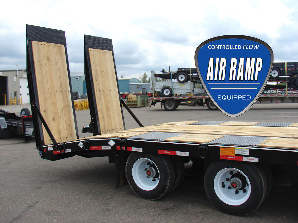 Felling Trailers Inc. has recently expanded its air ramp length options for deck-over tags and semi trailer lines, now offering an 8 ft. (2.4 m) air ramp(s).
