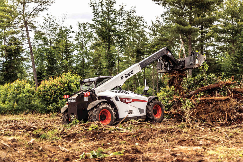Bobcat's V519 VersaHANDLER telescopic tool carrier is for applications that require a compact machine featuring a two-stage boom with a reach of more than 10 ft. (3 m) and a lift height of 19 ft. (5.8 m), and the ability to lift up to 5,500 lbs. (2,495 kg).