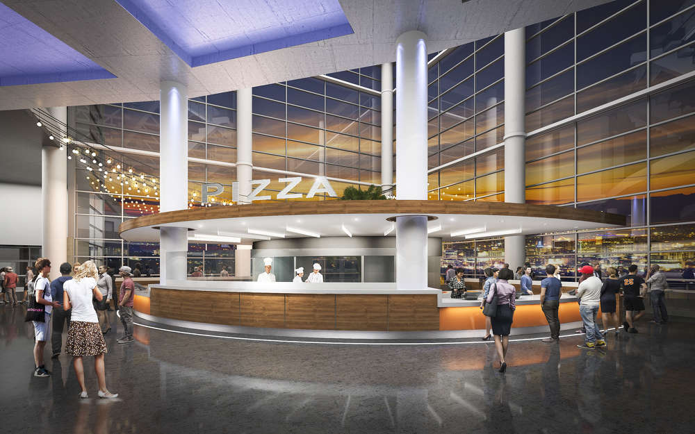 Each corner of the Vivint Smart Home Arena photos. main concourse will showcase the preparation of fresh food with areas devoted to gourmet hamburgers, hand-tossed pizzas, healthy choices such as salads and Mexican food.