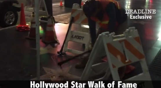 The act of vandalism occurred early Thursday morning in L.A. The video shows the make taking a pick axe to the star and destroying it piece by piece.